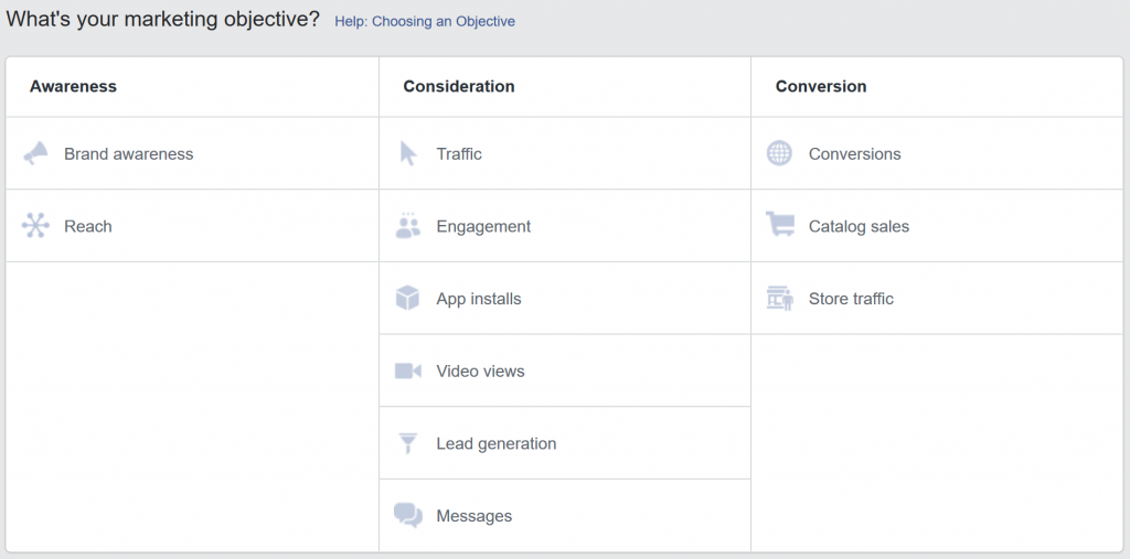 Základné ciele reklám na Facebooku